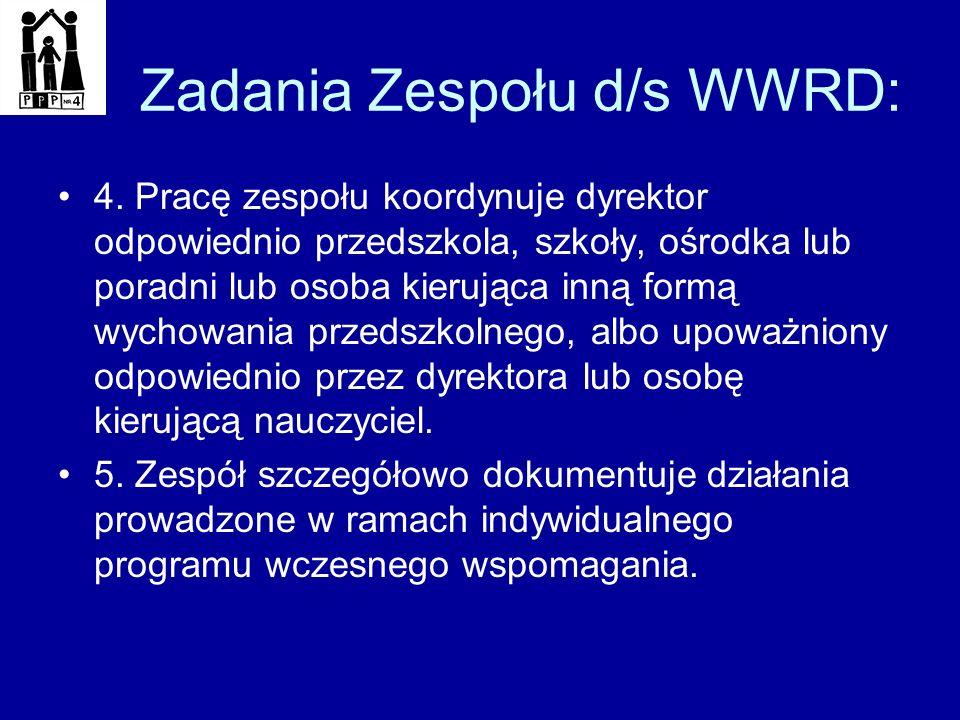 Zadania Zespołu d/s WWRD: