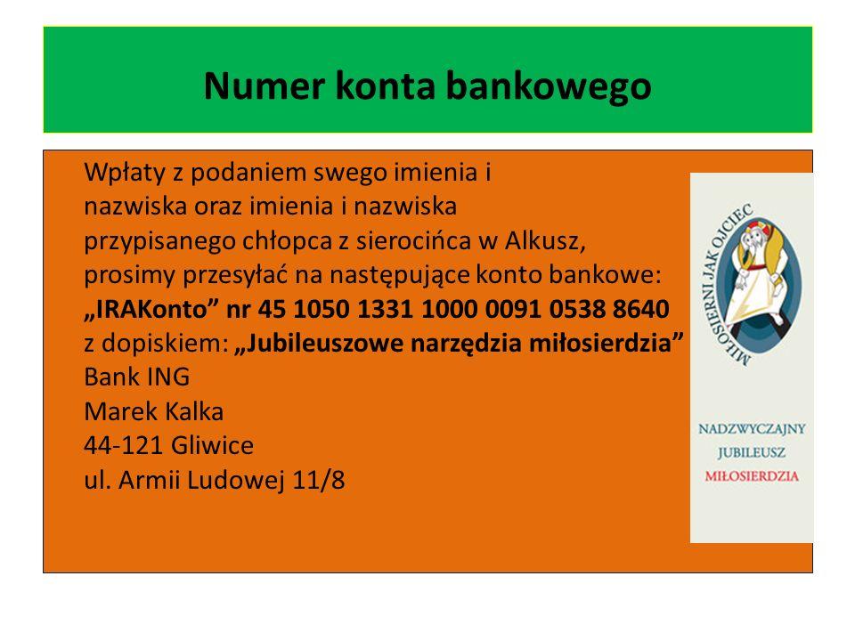 Numer konta bankowego Wpłaty z podaniem swego imienia i