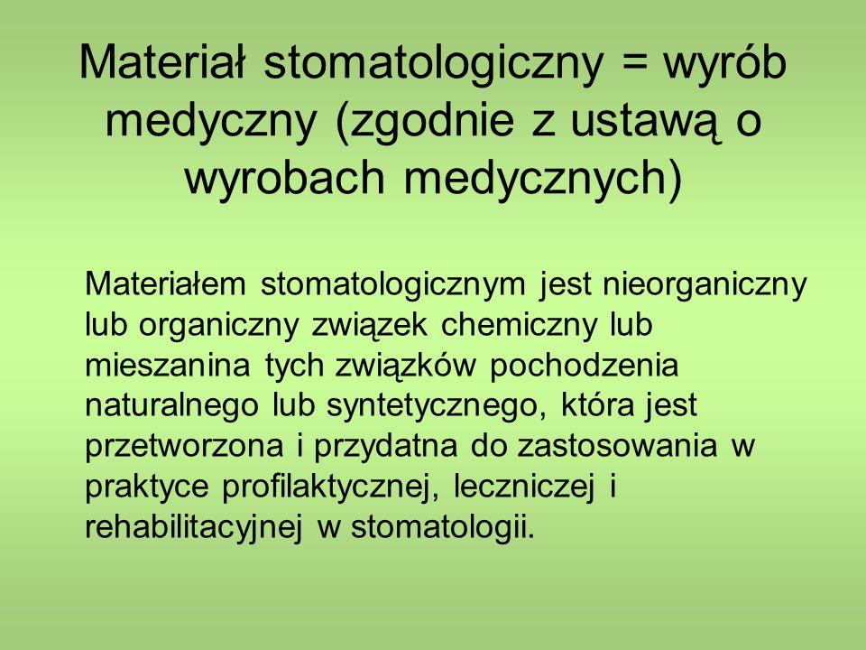 Materiał stomatologiczny = wyrób medyczny (zgodnie z ustawą o wyrobach medycznych)