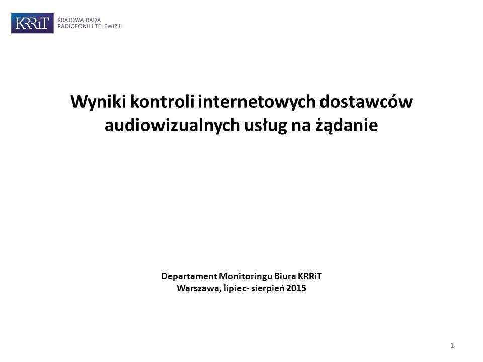 Departament Monitoringu Biura KRRiT Warszawa, lipiec- sierpień 2015