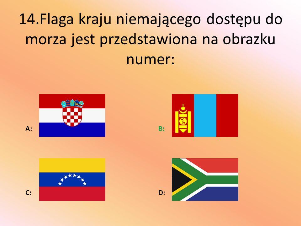 14.Flaga kraju niemającego dostępu do morza jest przedstawiona na obrazku numer: