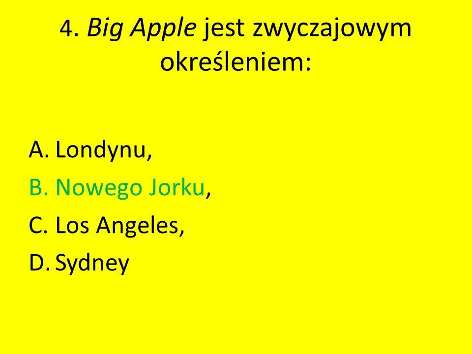 4. Big Apple jest zwyczajowym określeniem: