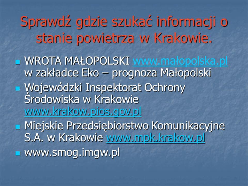 Sprawdź gdzie szukać informacji o stanie powietrza w Krakowie.