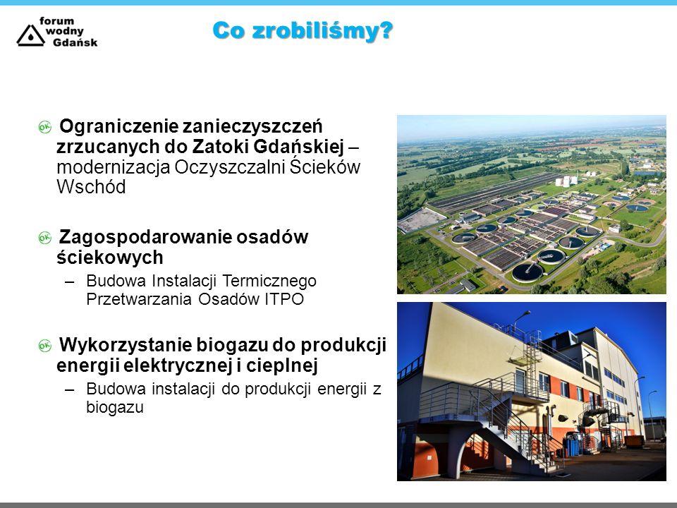 Co zrobiliśmy Ograniczenie zanieczyszczeń zrzucanych do Zatoki Gdańskiej – modernizacja Oczyszczalni Ścieków Wschód.
