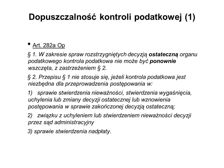 Dopuszczalność kontroli podatkowej (1)