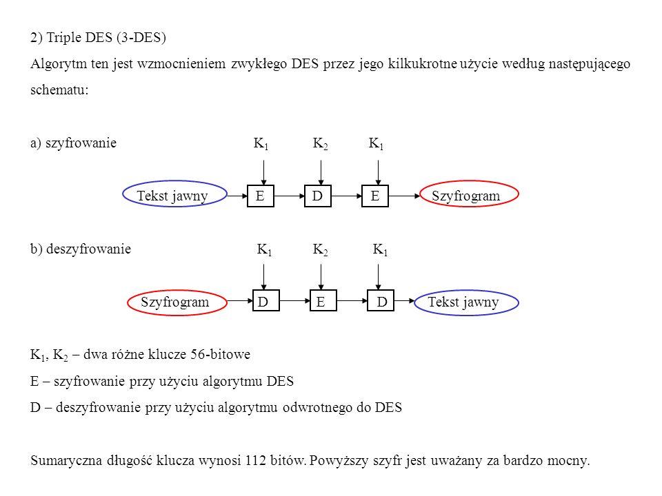 2) Triple DES (3-DES) Algorytm ten jest wzmocnieniem zwykłego DES przez jego kilkukrotne użycie według następującego.