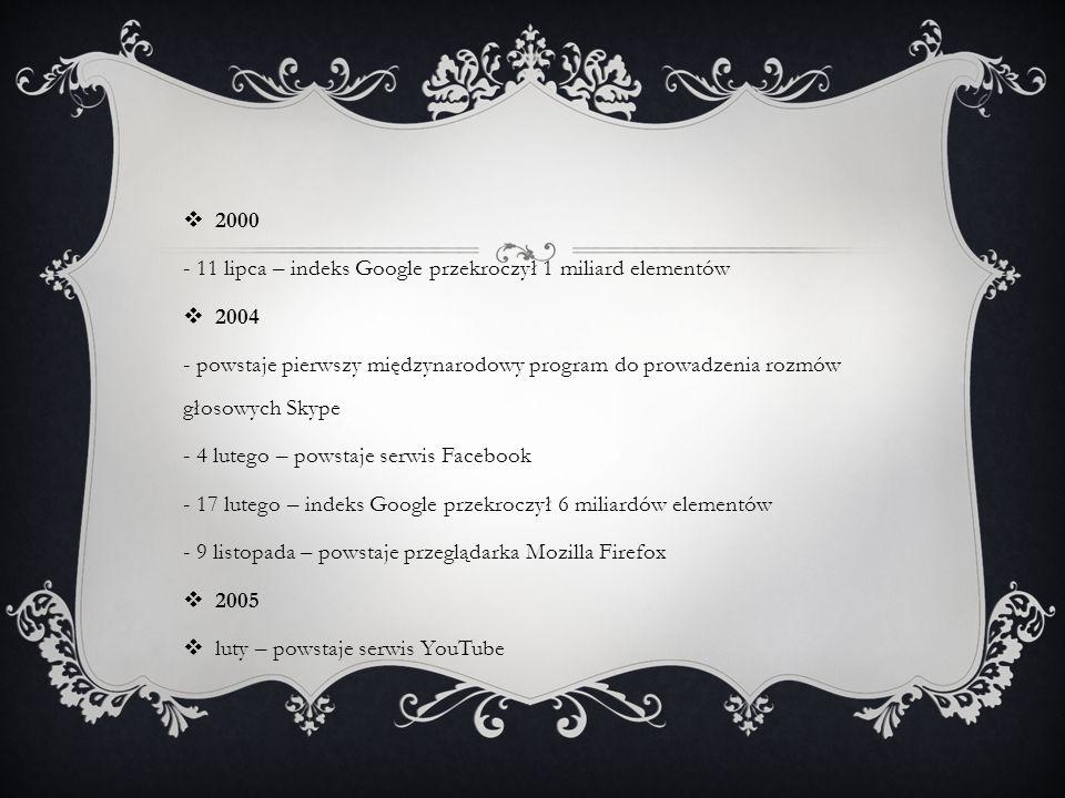 2000 - 11 lipca – indeks Google przekroczył 1 miliard elementów. 2004.