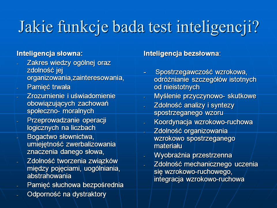 Jakie funkcje bada test inteligencji