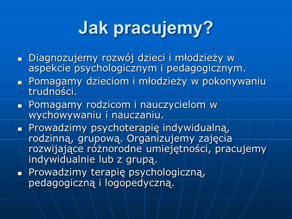 Jak pracujemy Diagnozujemy rozwój dzieci i młodzieży w aspekcie psychologicznym i pedagogicznym.