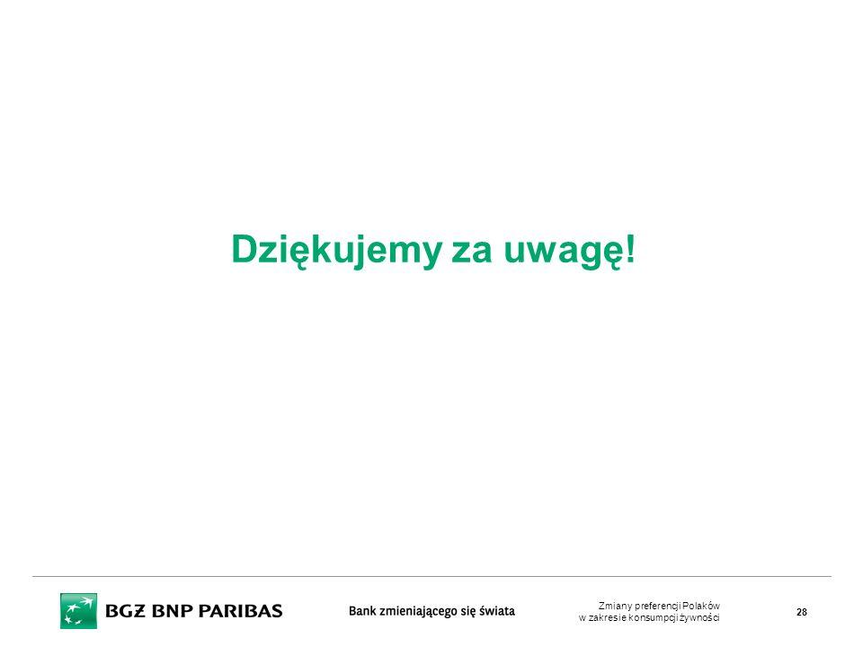 Dziękujemy za uwagę! Zmiany preferencji Polaków w zakresie konsumpcji żywności