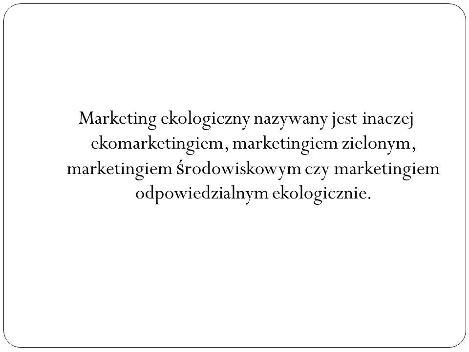 Marketing ekologiczny nazywany jest inaczej ekomarketingiem, marketingiem zielonym, marketingiem środowiskowym czy marketingiem odpowiedzialnym ekologicznie.