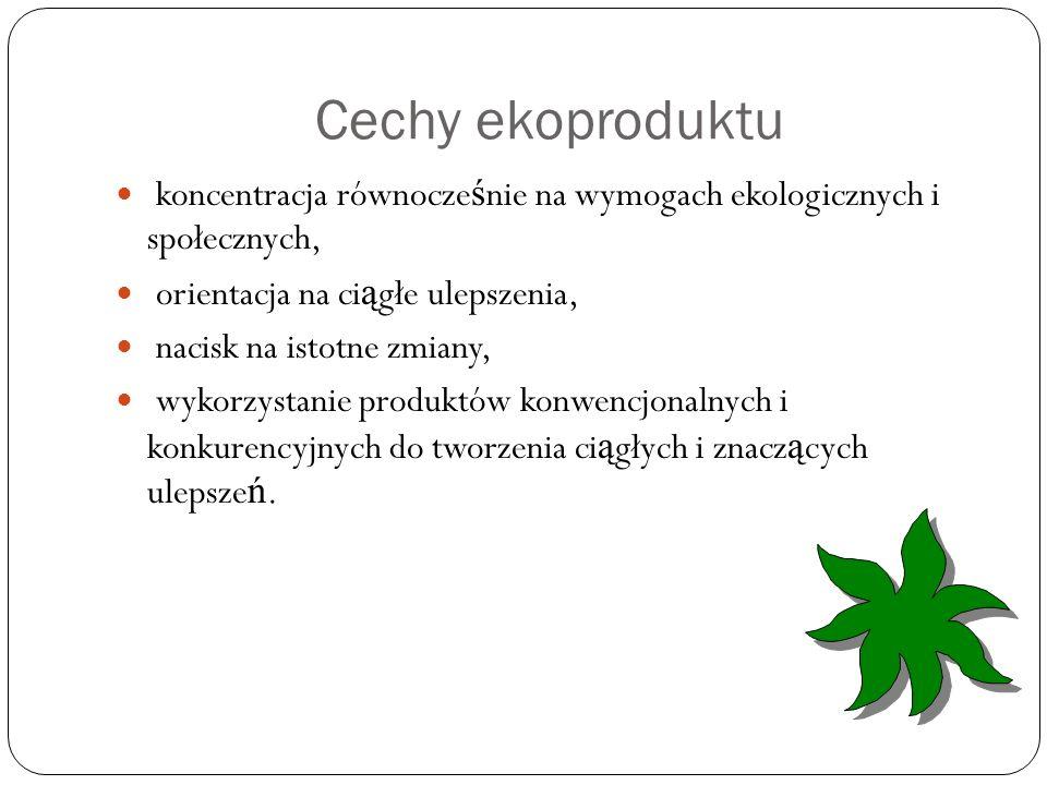 Cechy ekoproduktu koncentracja równocześnie na wymogach ekologicznych i społecznych, orientacja na ciągłe ulepszenia,
