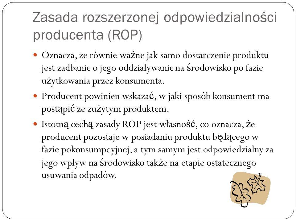 Zasada rozszerzonej odpowiedzialności producenta (ROP)