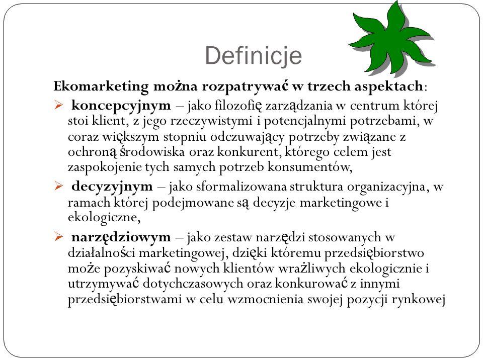 Definicje Ekomarketing można rozpatrywać w trzech aspektach: