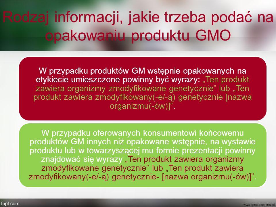 Rodzaj informacji, jakie trzeba podać na opakowaniu produktu GMO