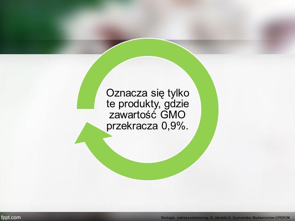 Oznacza się tylko te produkty, gdzie zawartość GMO przekracza 0,9%.