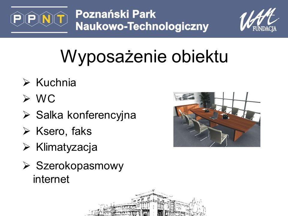 Wyposażenie obiektu Kuchnia WC Salka konferencyjna Ksero, faks