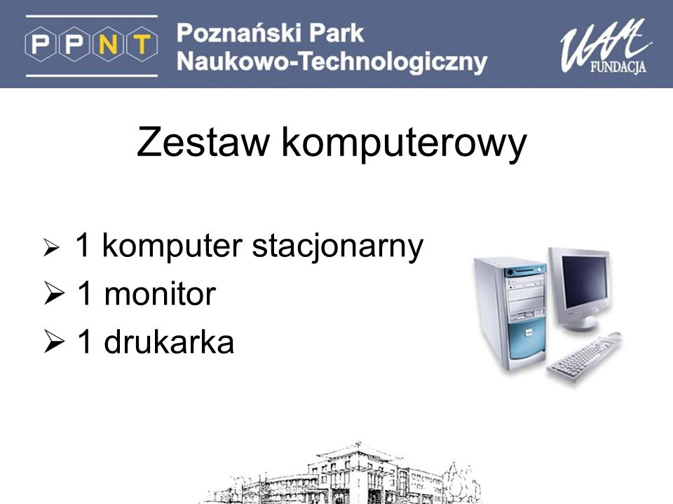 Zestaw komputerowy 1 komputer stacjonarny 1 monitor 1 drukarka