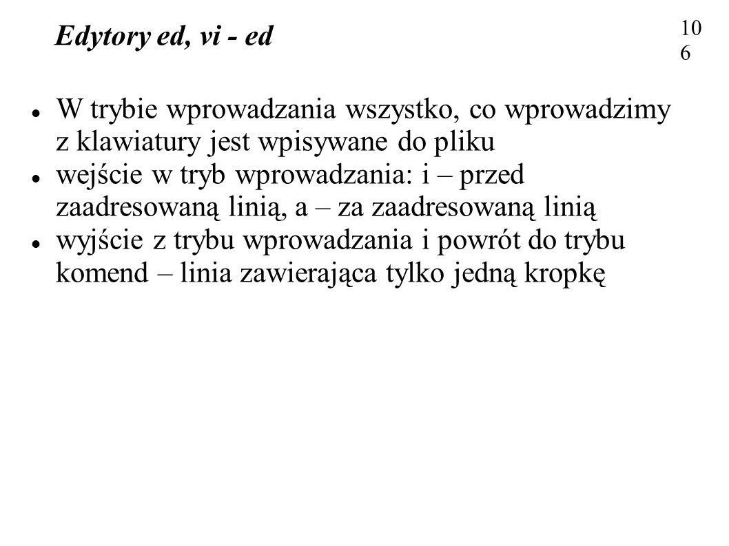 Edytory ed, vi - ed 106106. W trybie wprowadzania wszystko, co wprowadzimy z klawiatury jest wpisywane do pliku.
