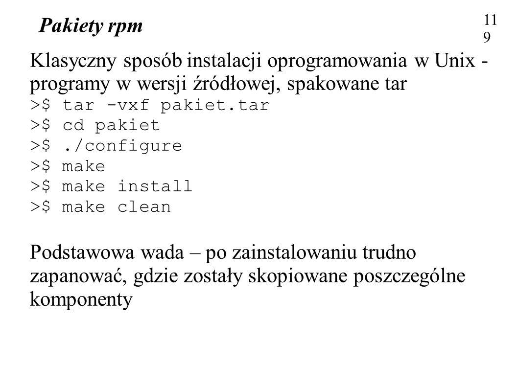 Klasyczny sposób instalacji oprogramowania w Unix -