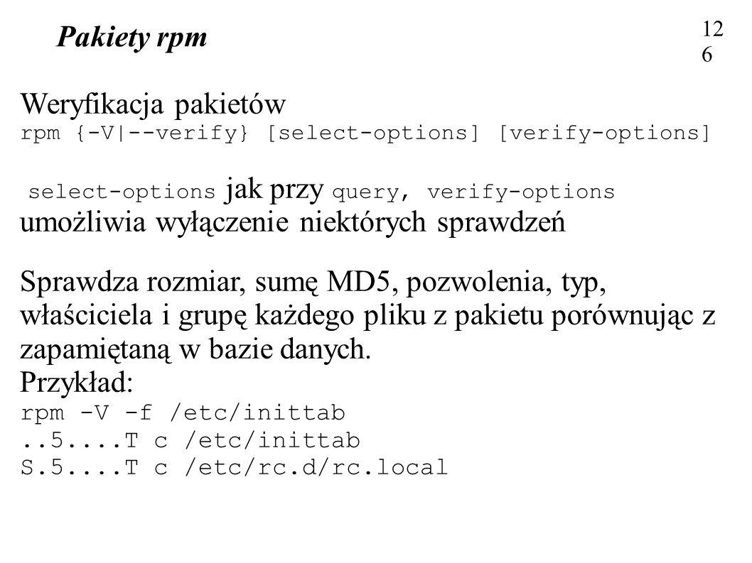 Pakiety rpm Weryfikacja pakietów