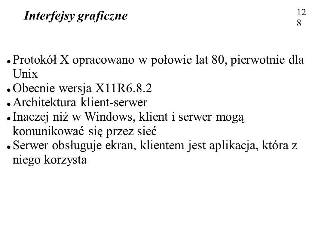 Protokół X opracowano w połowie lat 80, pierwotnie dla Unix