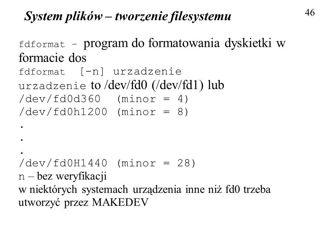 System plików – tworzenie filesystemu