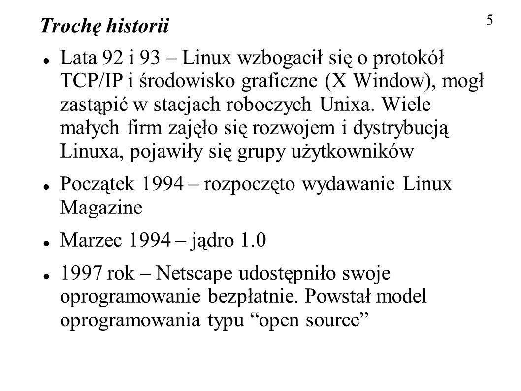Początek 1994 – rozpoczęto wydawanie Linux Magazine