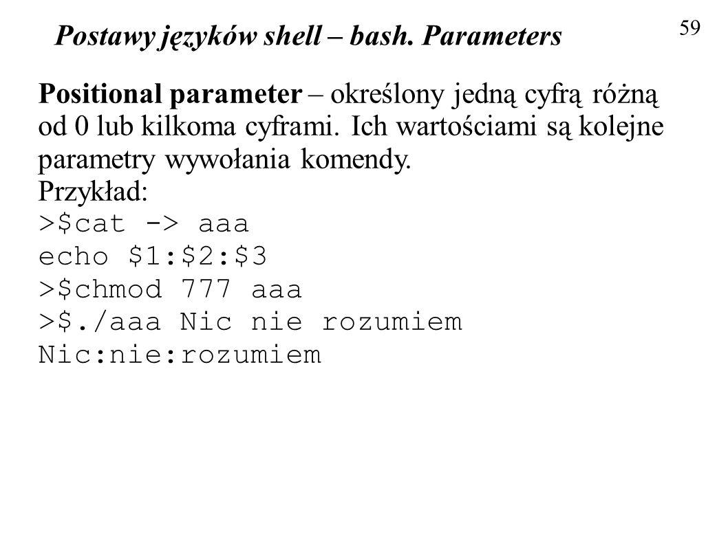 Postawy języków shell – bash. Parameters