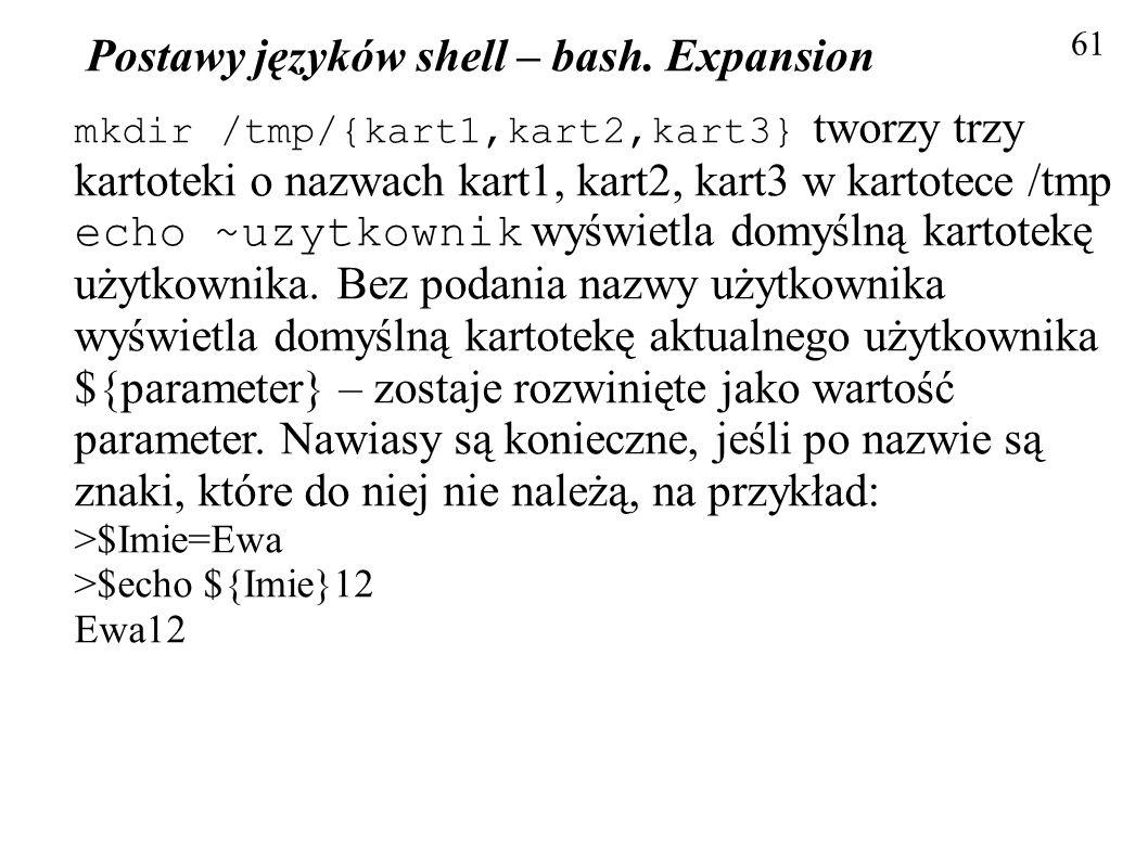 Postawy języków shell – bash. Expansion