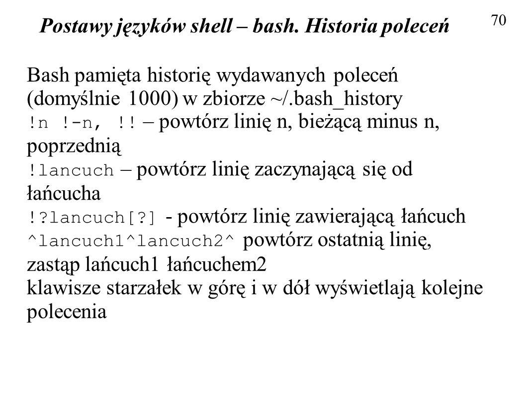 Postawy języków shell – bash. Historia poleceń