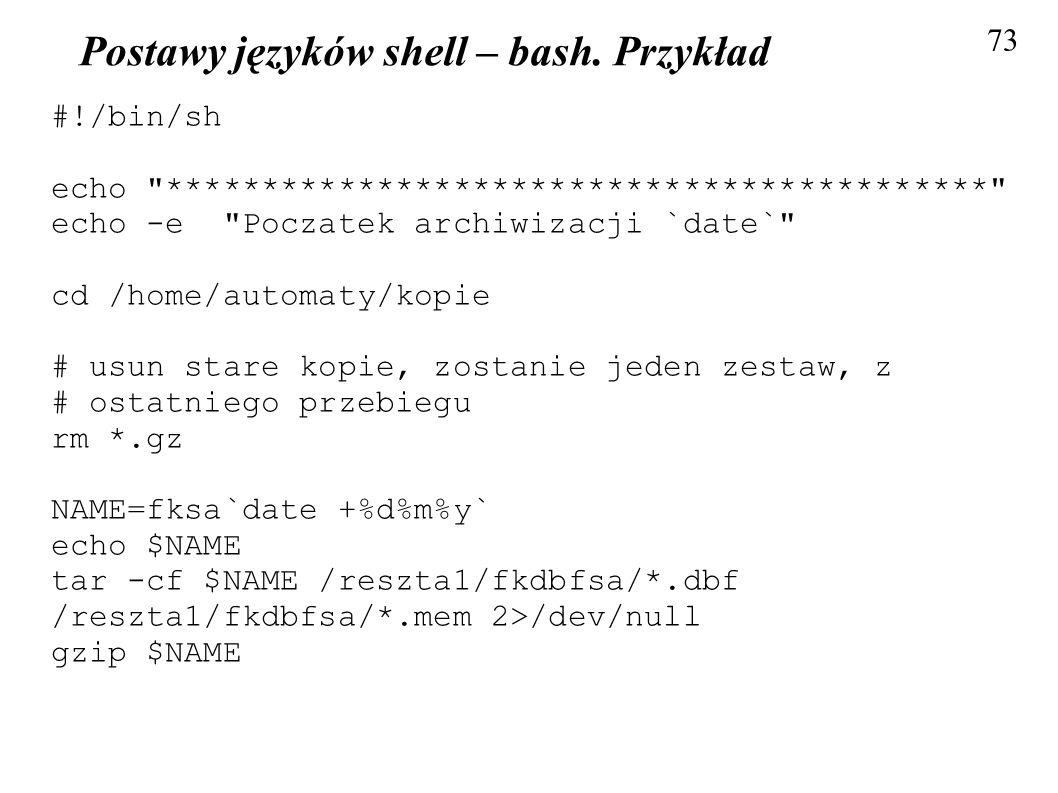 Postawy języków shell – bash. Przykład
