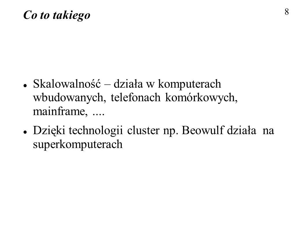 Dzięki technologii cluster np. Beowulf działa na superkomputerach