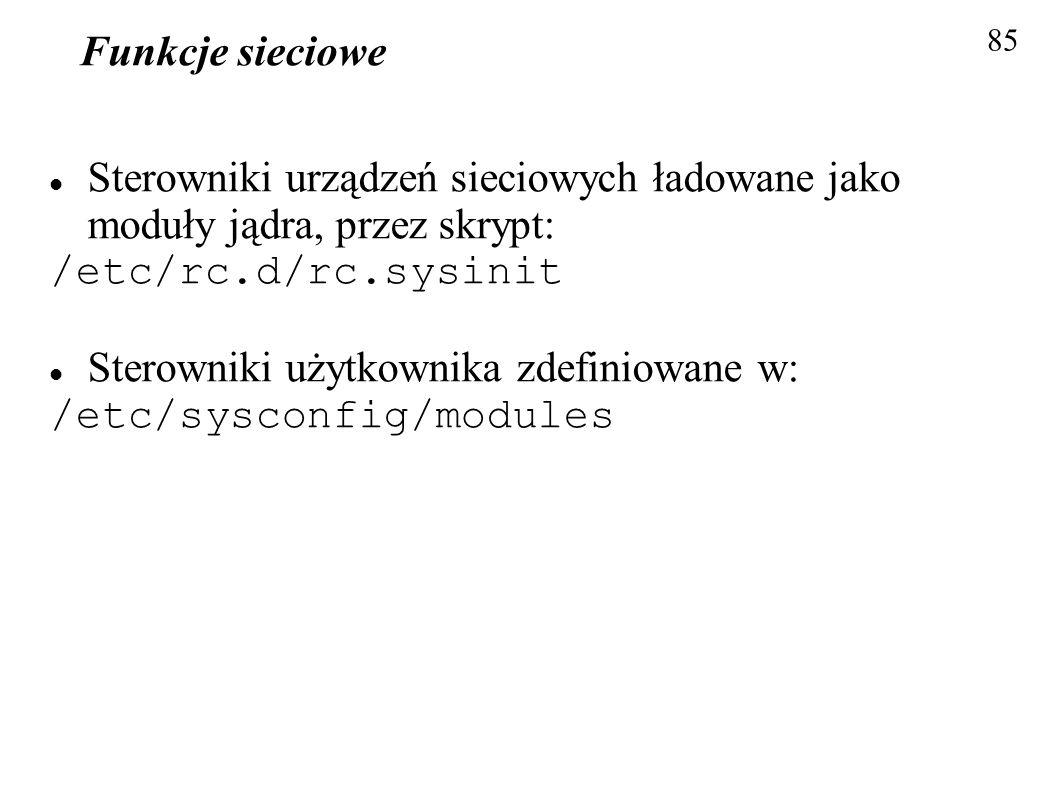 Sterowniki użytkownika zdefiniowane w: /etc/sysconfig/modules
