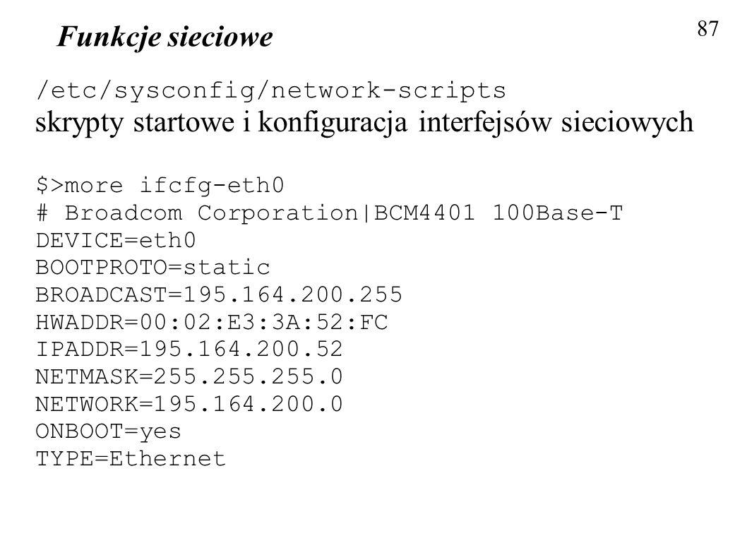 skrypty startowe i konfiguracja interfejsów sieciowych