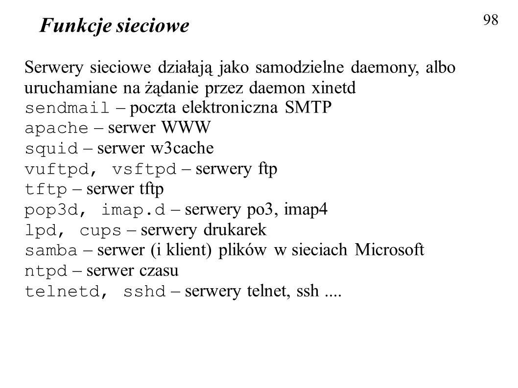 Funkcje sieciowe 98. Serwery sieciowe działają jako samodzielne daemony, albo uruchamiane na żądanie przez daemon xinetd.