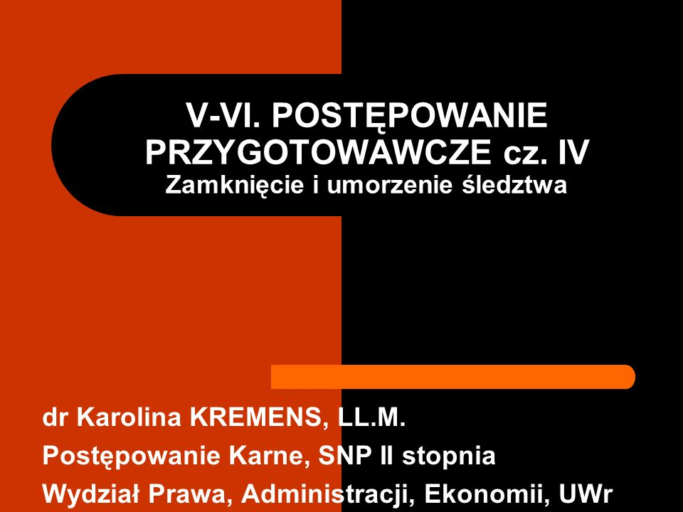 V-VI. POSTĘPOWANIE PRZYGOTOWAWCZE cz