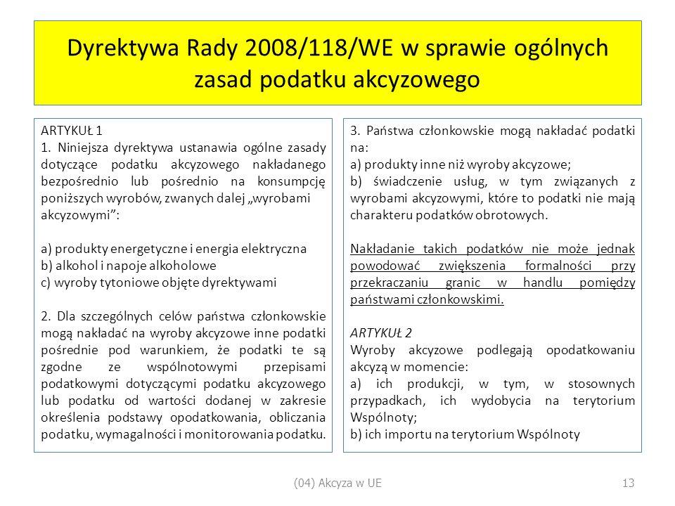 Dyrektywa Rady 2008/118/WE w sprawie ogólnych zasad podatku akcyzowego