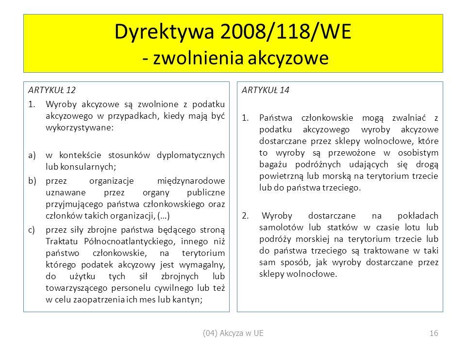 Dyrektywa 2008/118/WE - zwolnienia akcyzowe