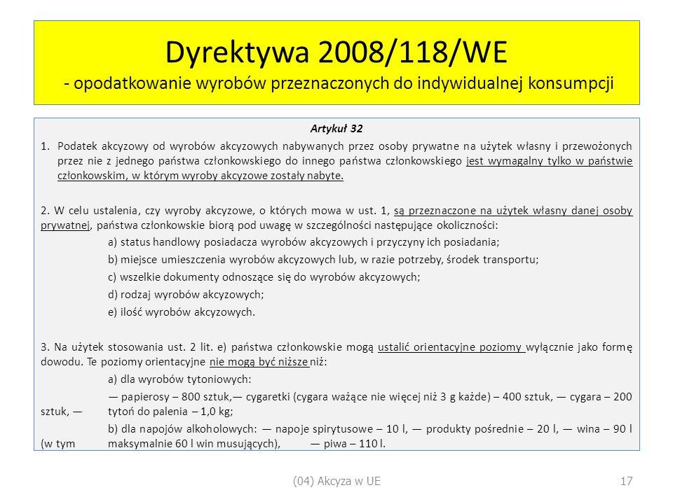 Dyrektywa 2008/118/WE - opodatkowanie wyrobów przeznaczonych do indywidualnej konsumpcji