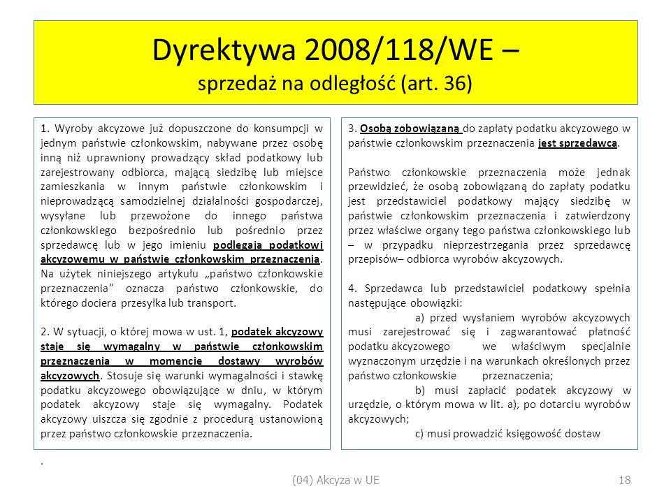 Dyrektywa 2008/118/WE – sprzedaż na odległość (art. 36)
