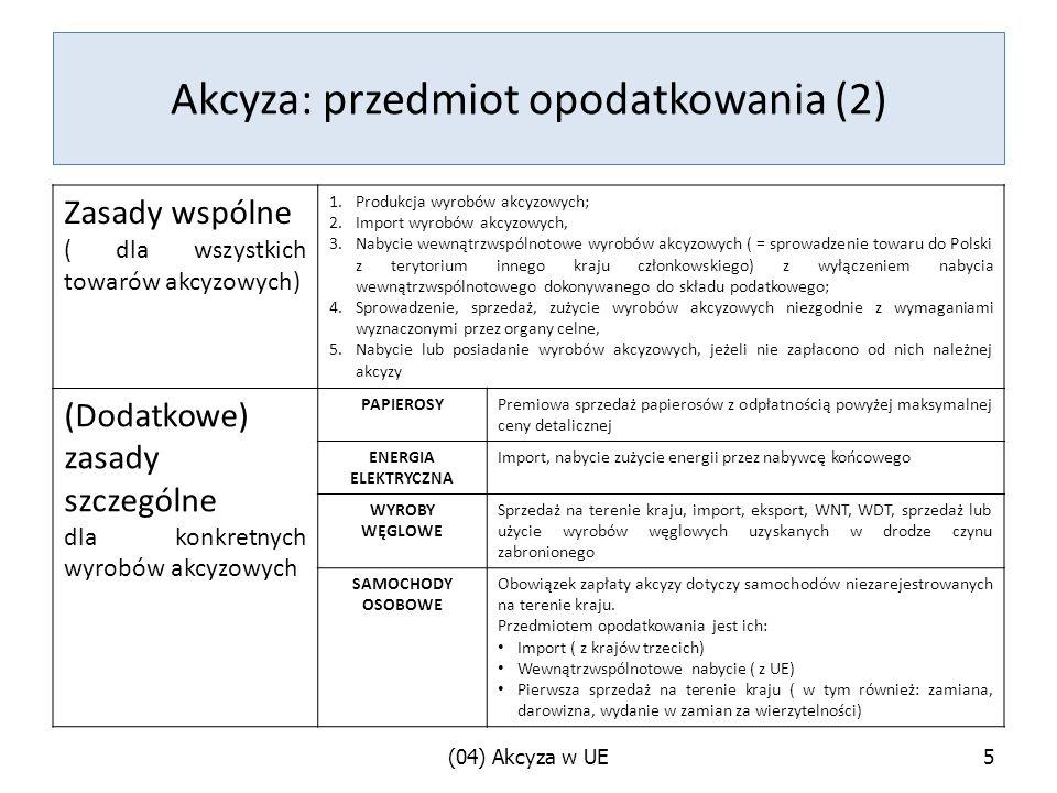 Akcyza: przedmiot opodatkowania (2)