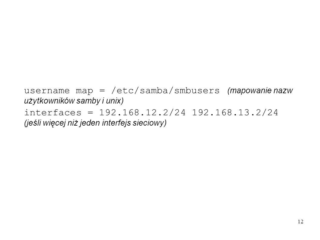 username map = /etc/samba/smbusers (mapowanie nazw użytkowników samby i unix)