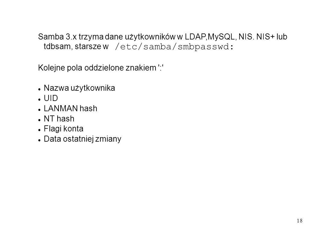 Samba 3. x trzyma dane użytkowników w LDAP,MySQL, NIS