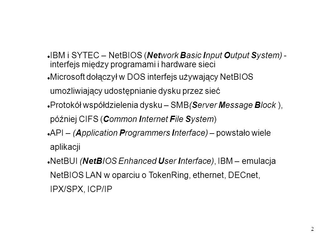 IBM i SYTEC – NetBIOS (Network Basic Input Output System) - interfejs między programami i hardware sieci
