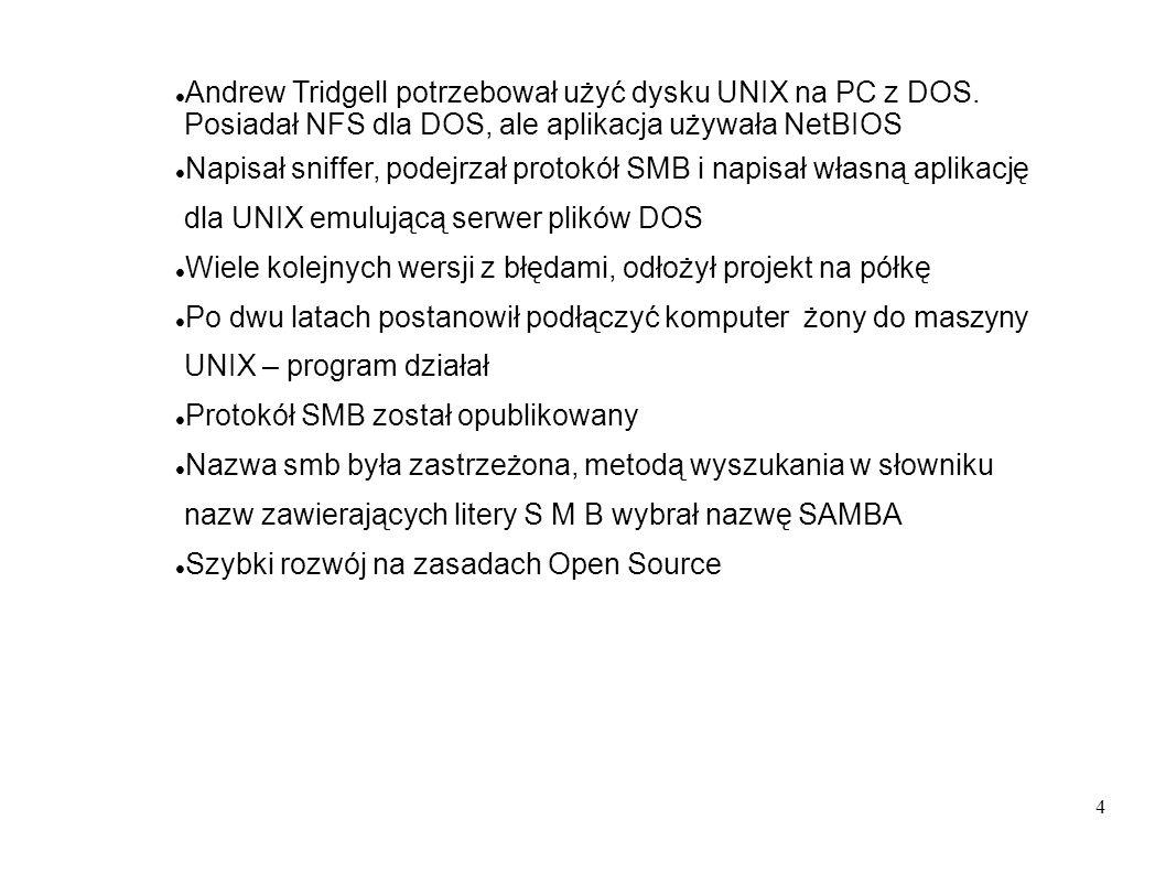 Andrew Tridgell potrzebował użyć dysku UNIX na PC z DOS