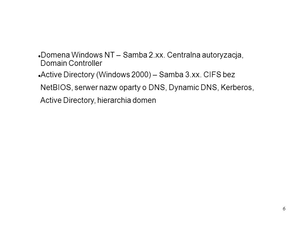 Domena Windows NT – Samba 2. xx