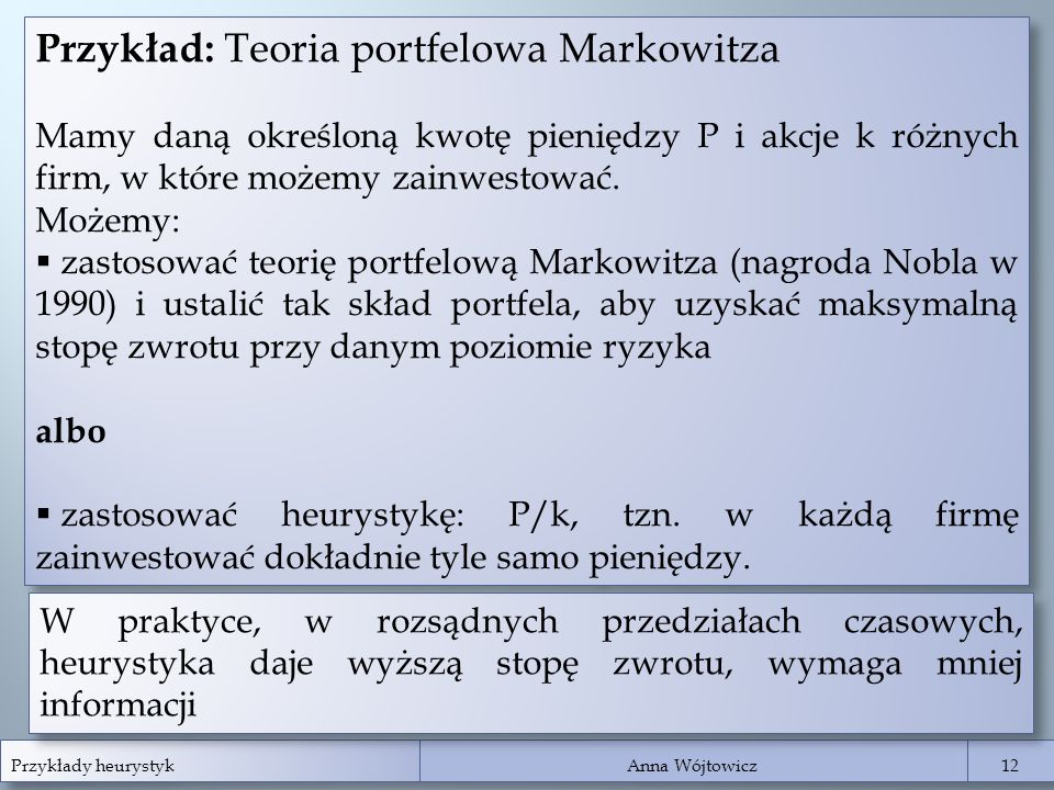 Przykład: Teoria portfelowa Markowitza