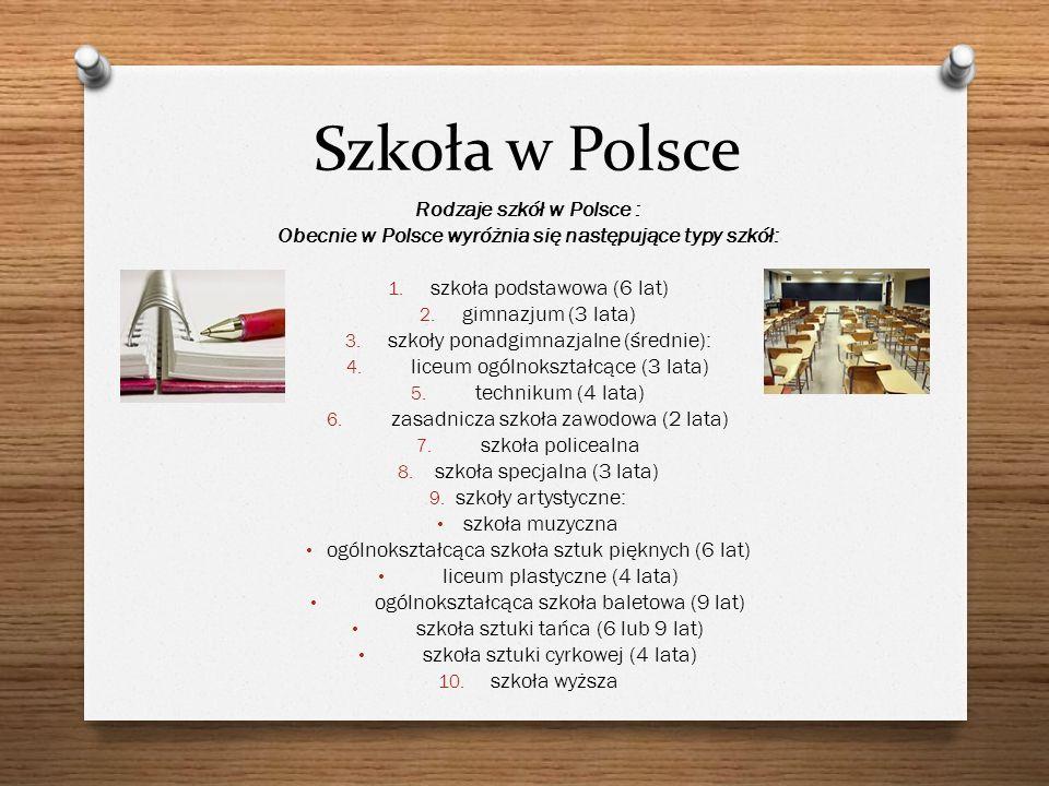 Szkoła w Polsce Rodzaje szkół w Polsce :
