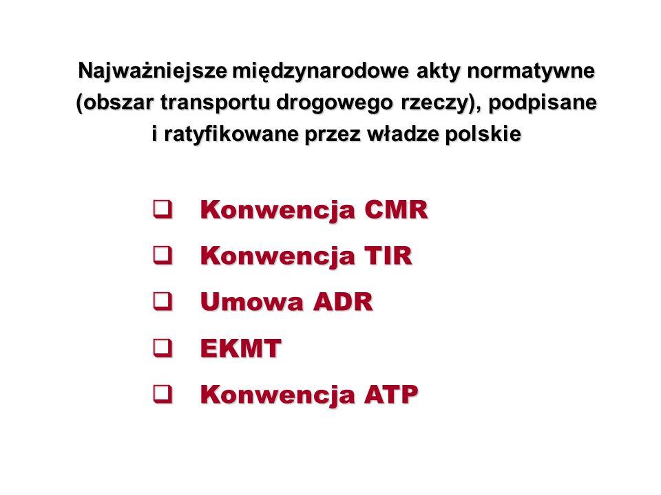 Konwencja CMR Konwencja TIR Umowa ADR EKMT Konwencja ATP